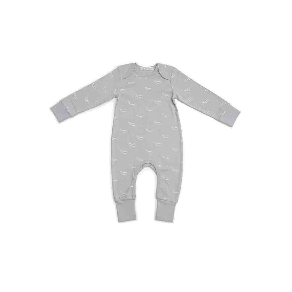 Baby Sleepsuit - Long Arm/Long Leg (Soft Stone Grey In Tiny Whales Print)   Trada Marketplace