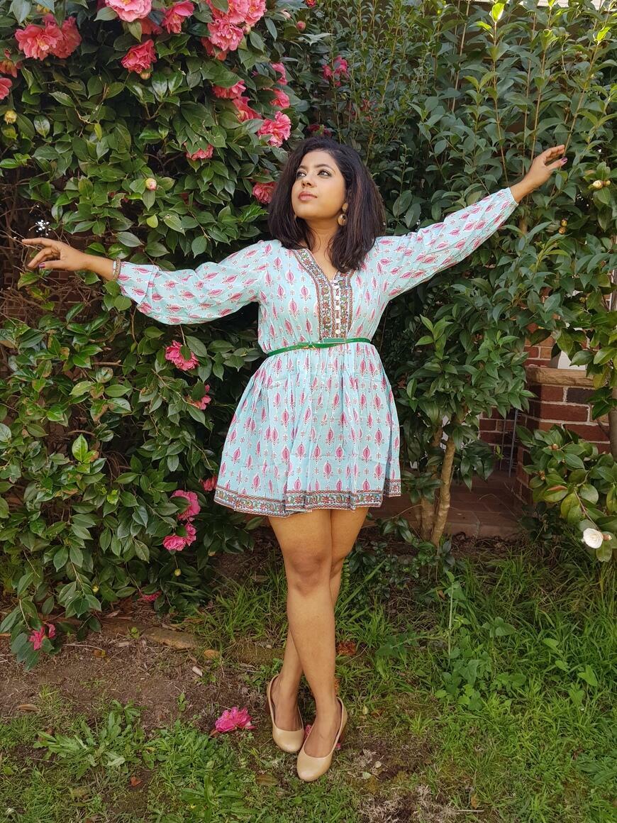 Charu-Hand Block Print Cotton Boho Short Dress | Trada Marketplace