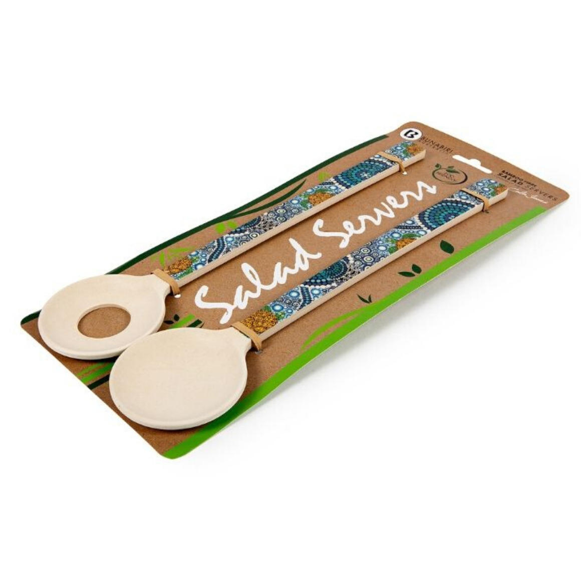 Salad Servers Bamboo Aboriginal Design - Colour of the Reef Design - Colin Jones   Trada Marketplace