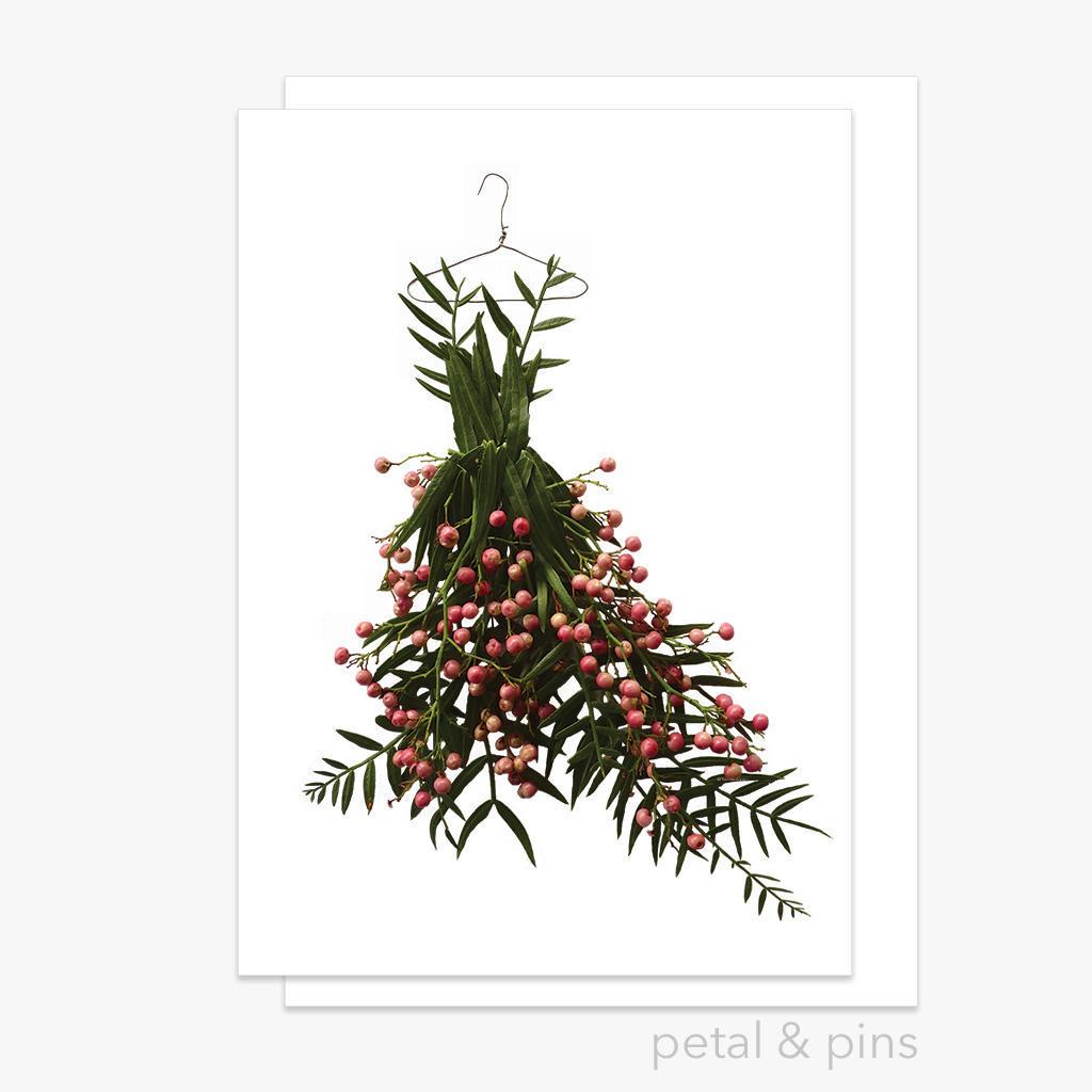 pink peppercorn dress greeting card | Trada Marketplace