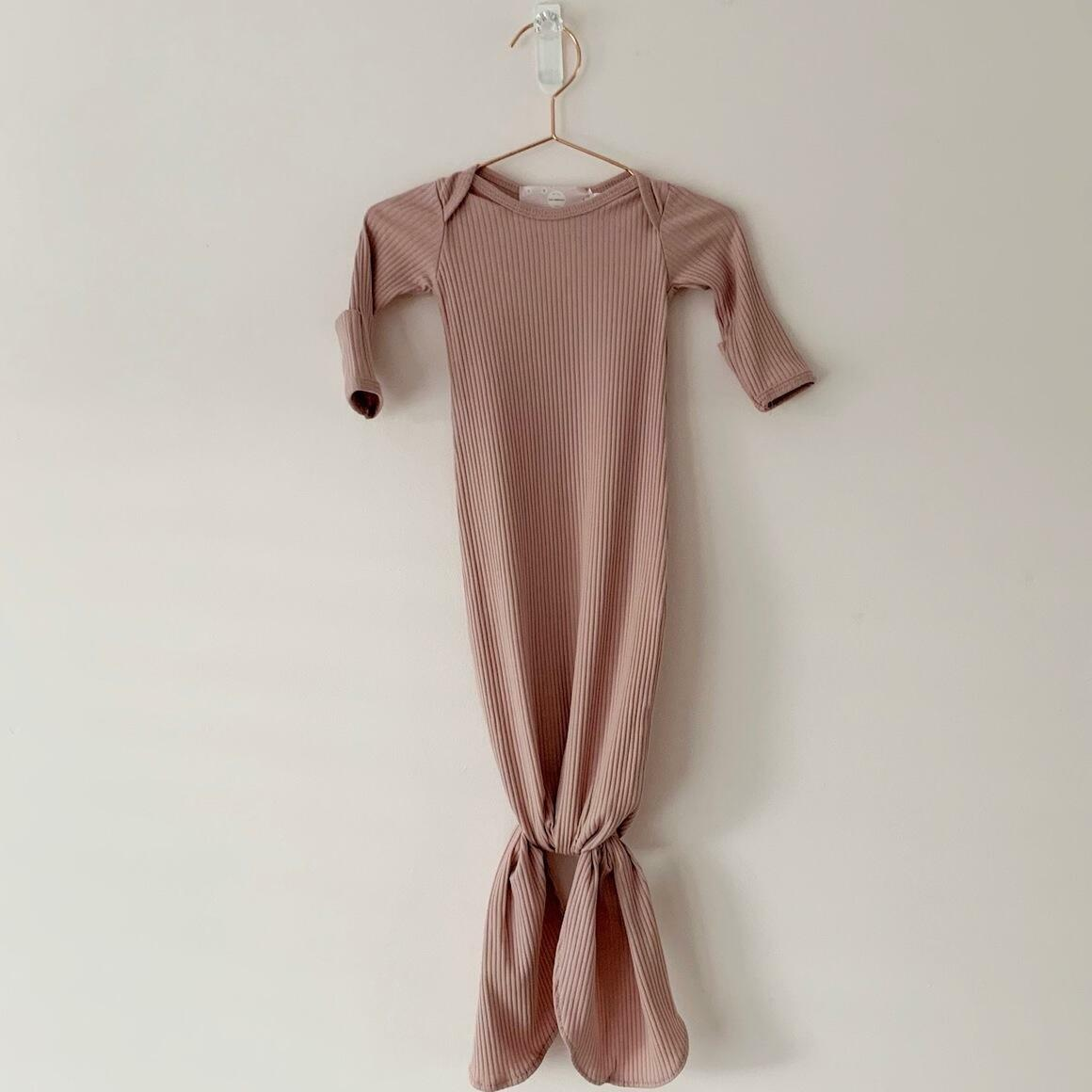 Dusty Pink Knotted Gown + Top Knot Hat | Trada Marketplace