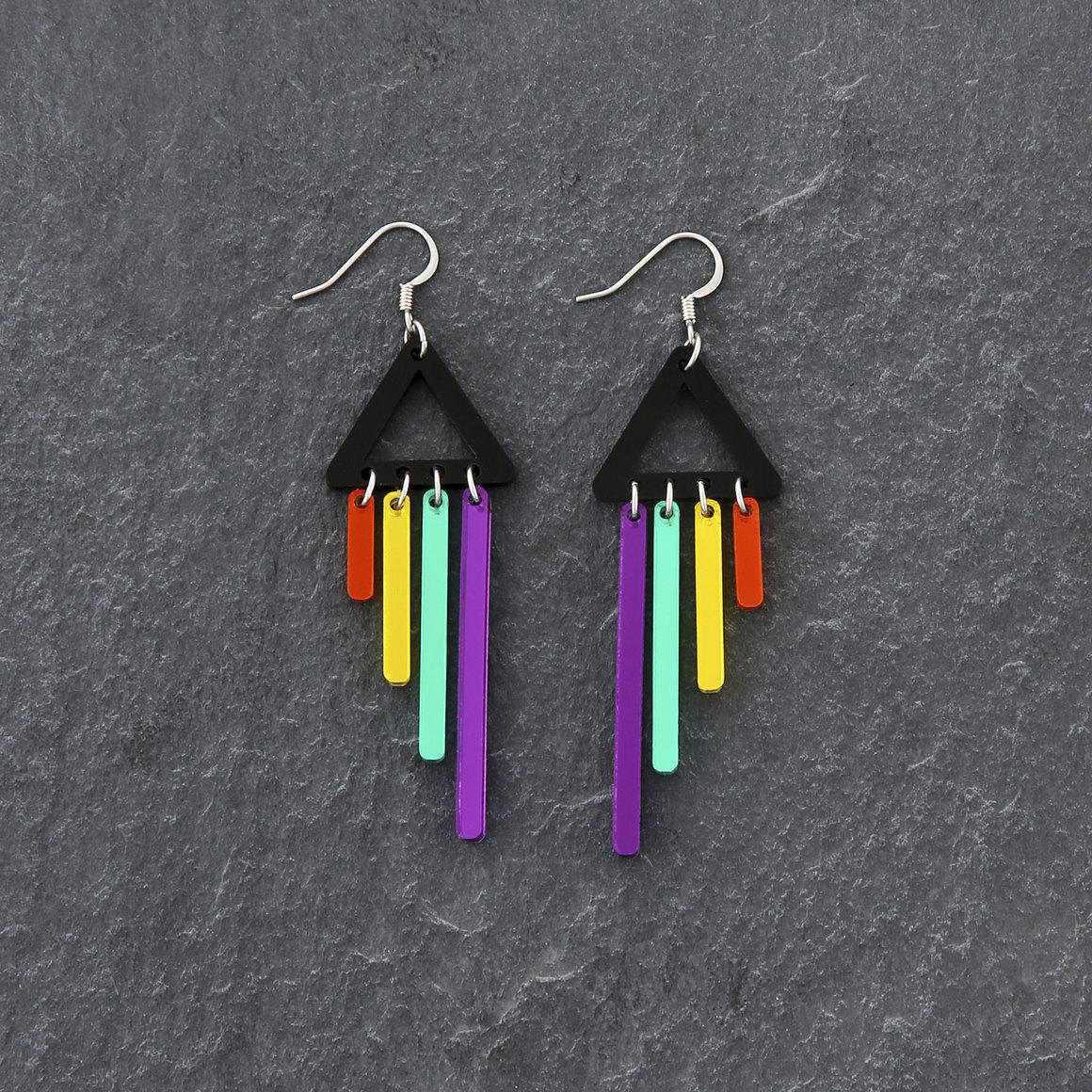 Dangle Earrings  - RAINBOW CHIMETTES - Purple | Trada Marketplace