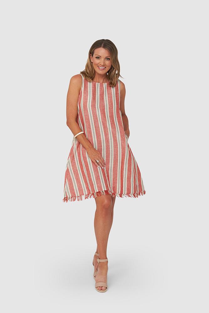 AMY Dress | Red Stripe | Trada Marketplace