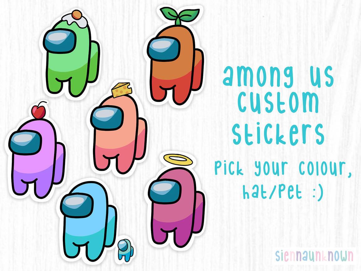 Among Us stickers Custom colours, hats & pets! | Trada Marketplace