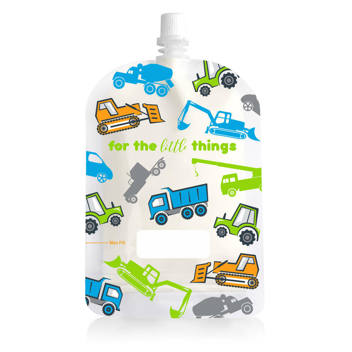 150ml Reusable Food Pouch - Trucks Print (10 pack) | Trada Marketplace