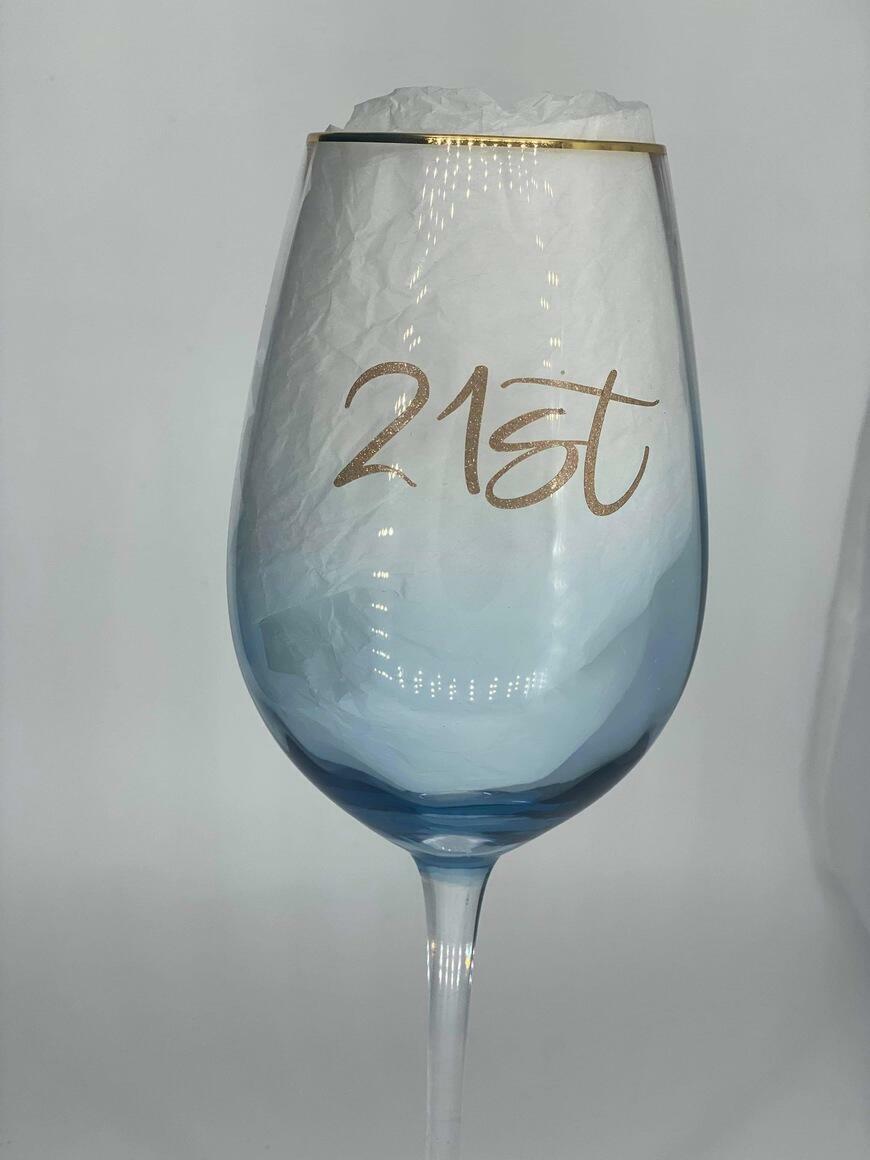 21st Blue Wine Glass   Trada Marketplace
