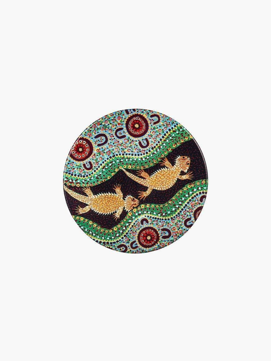 Aboriginal Bearded Dragon Ceramic Coaster | Trada Marketplace