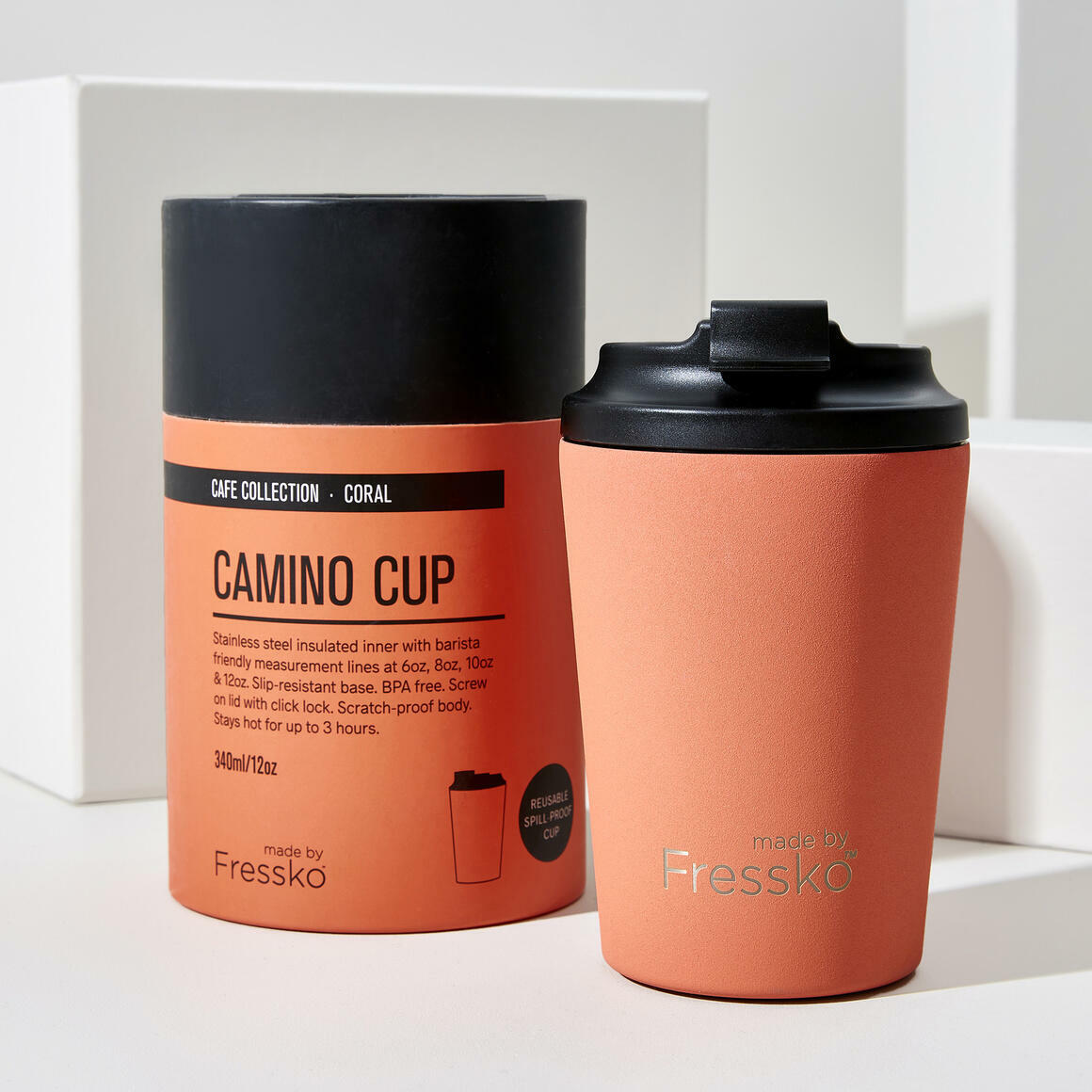 Fressko CAMINO Stainless Steel Reusable Cup CORAL | Trada Marketplace