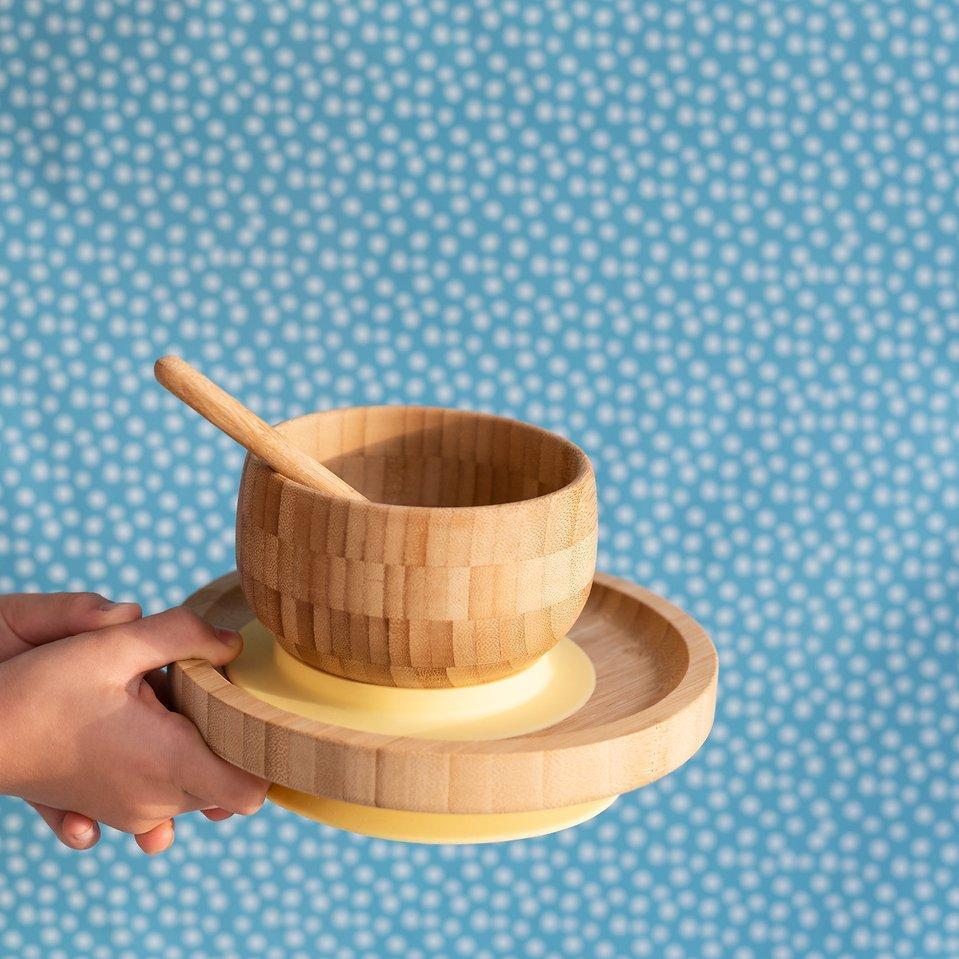 Bamboo Suction Feeding Set - YELLOW   Trada Marketplace