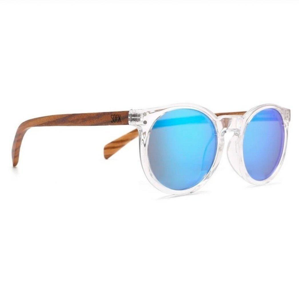 WINEGLASS BAY - Clear Framed Sustainable Sunglasses with Walnut Wooden Arms and Blue Polarized Lens  - Adult | Trada Marketplace