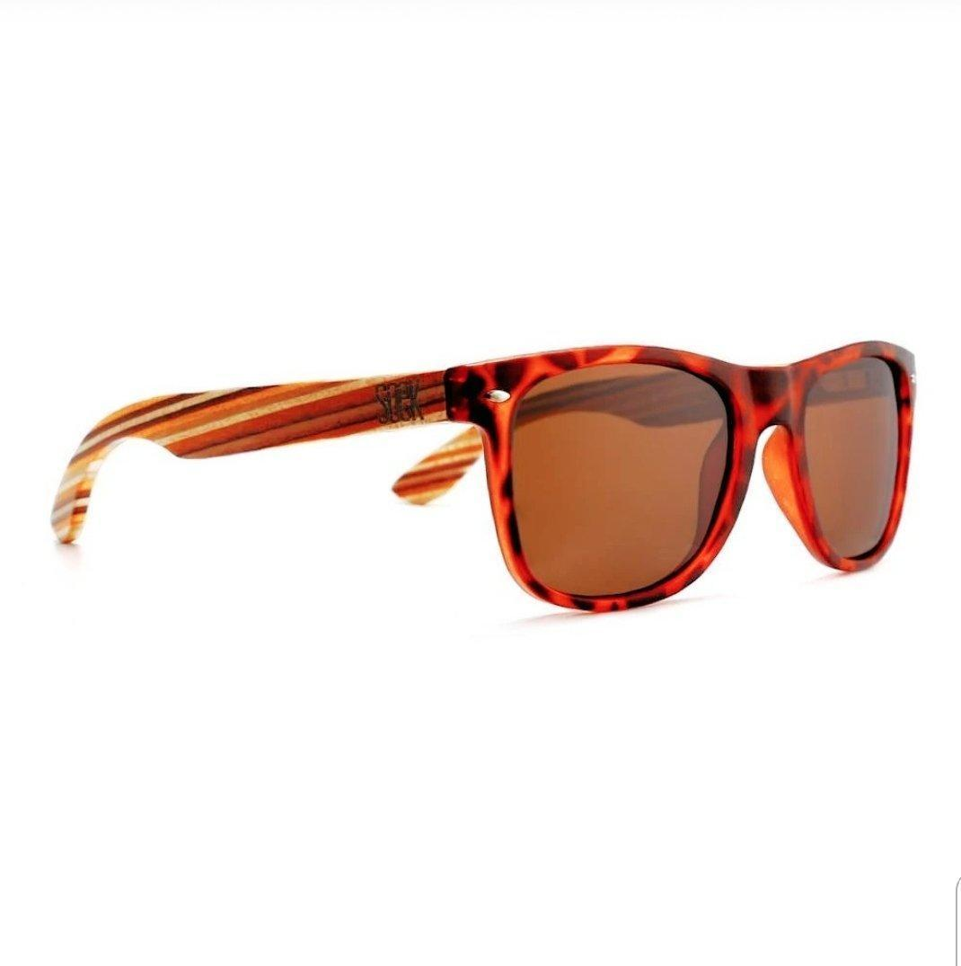 AVOCA -   Tortoise Polarized Sunglasses with Sustainable Mustard Wooden Striped Arms - Adult | Trada Marketplace