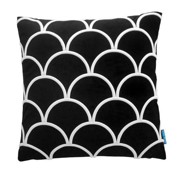 DARLEY Black and White Scallop Embroidered Velvet Cushion Cover 50 cm by 50 cm   Trada Marketplace