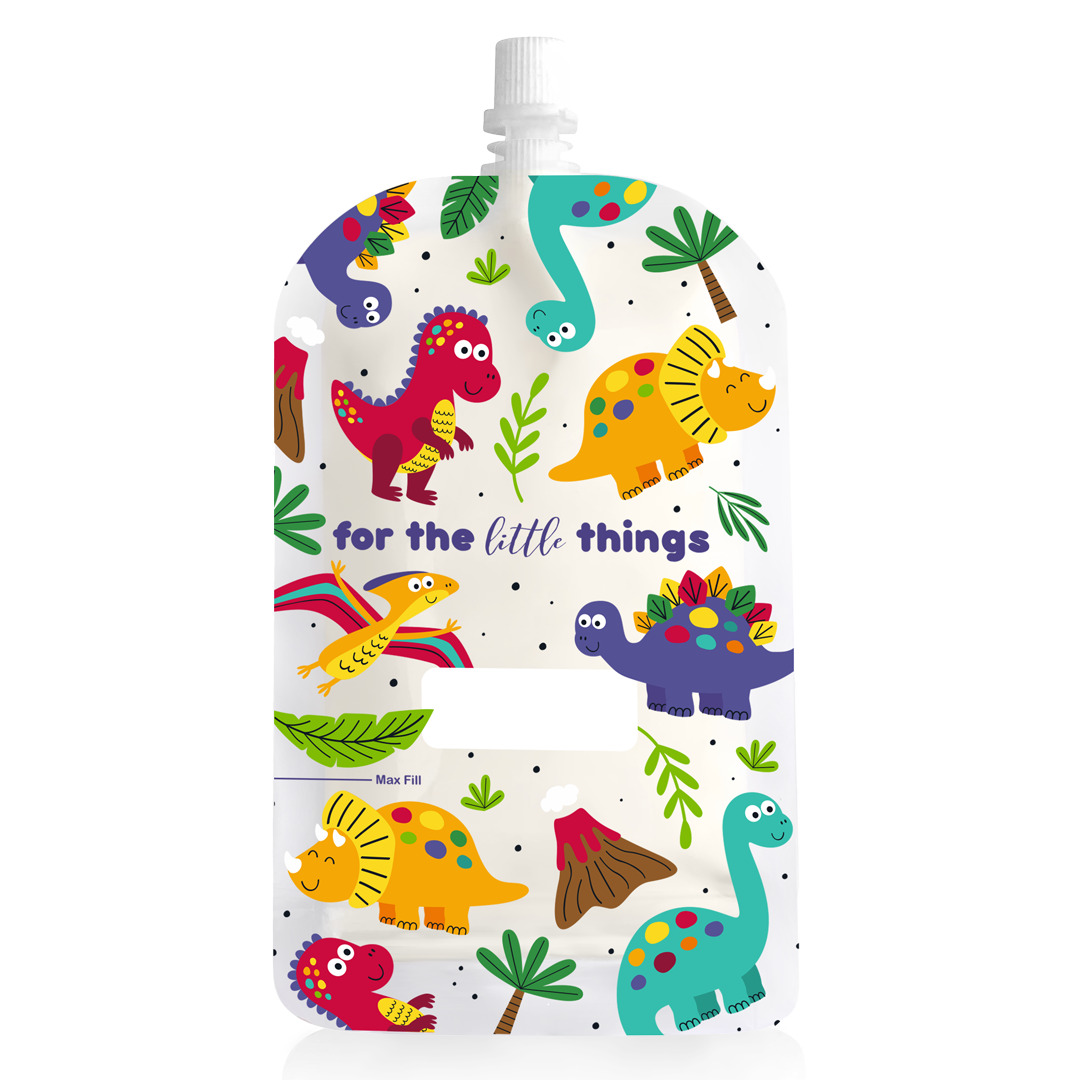 200ml Reusable Food Pouch - Dinosaurs Print (10 pack) | Trada Marketplace