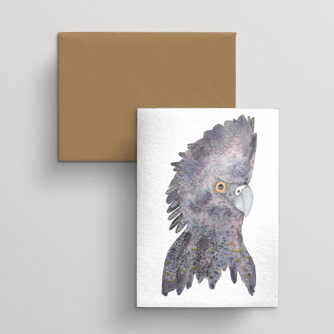 Greeting card single Black Cockatoo | Trada Marketplace