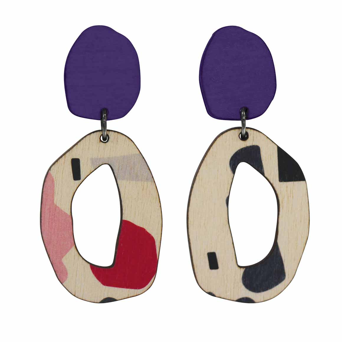 2 tiered Purple abstract wiggle earrings   Trada Marketplace