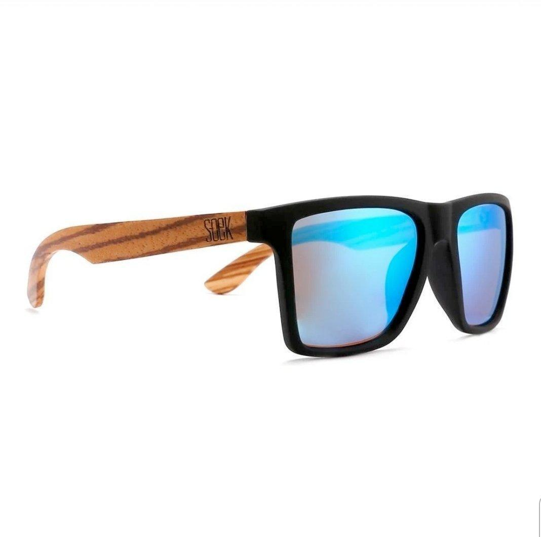 FORRESTERS - Black Sustainable Sunglasses with Walnut Wooden Arms and Blue Polarized Lens | Trada Marketplace