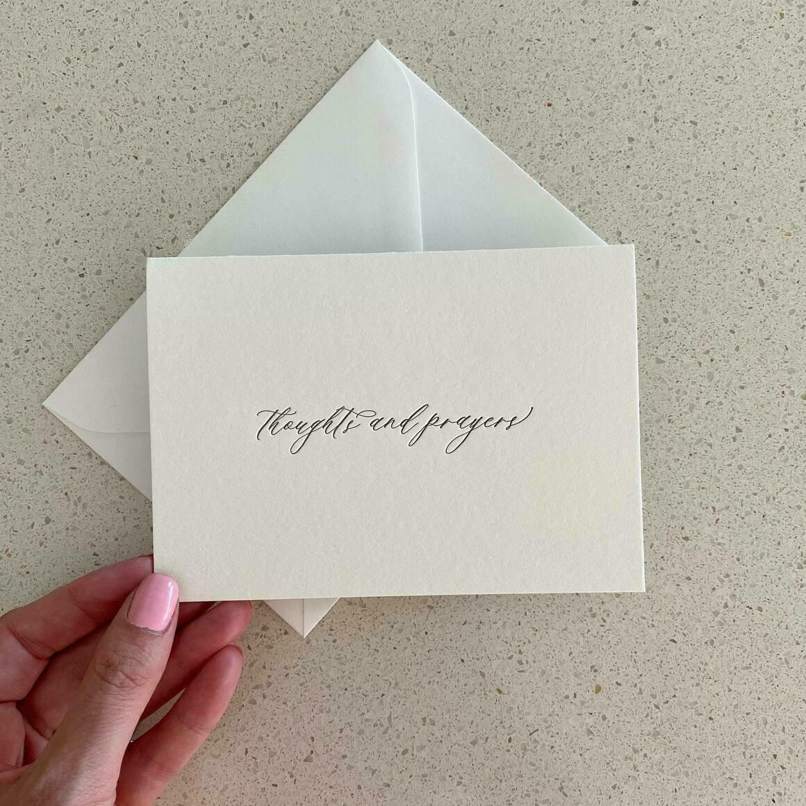 Thoughts and Prayers   Letterpress Greeting Card   Trada Marketplace
