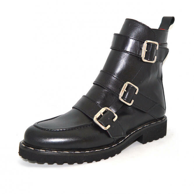 Nat: Black Leather Combat Boot   Trada Marketplace