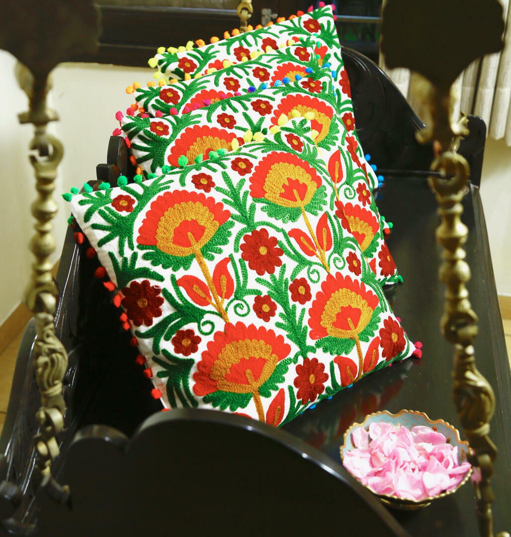 LOTUS Embroidered Suzani Cushion Cover with Pompom | Trada Marketplace