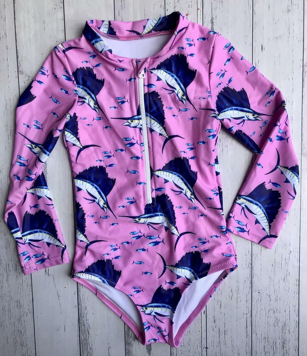 Girls pink Sailfish Swimsuit   Trada Marketplace