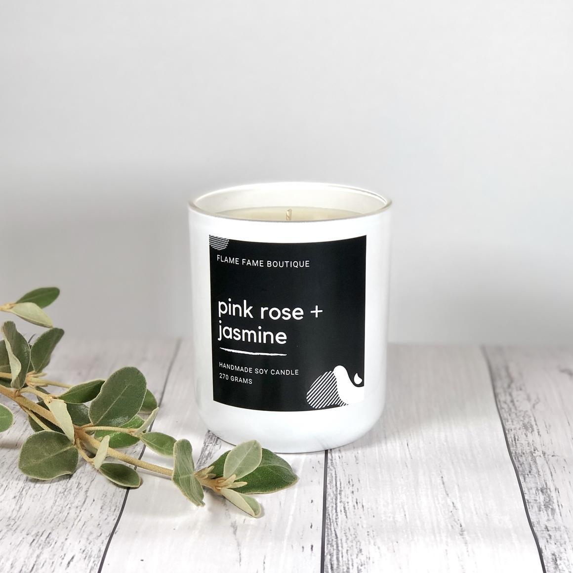Pink rose + jasmine candle   Trada Marketplace