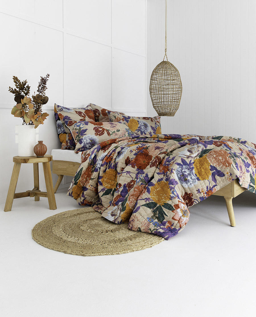 Taupe / Black Floral Garden Cotton Double Sided Quilt   Trada Marketplace