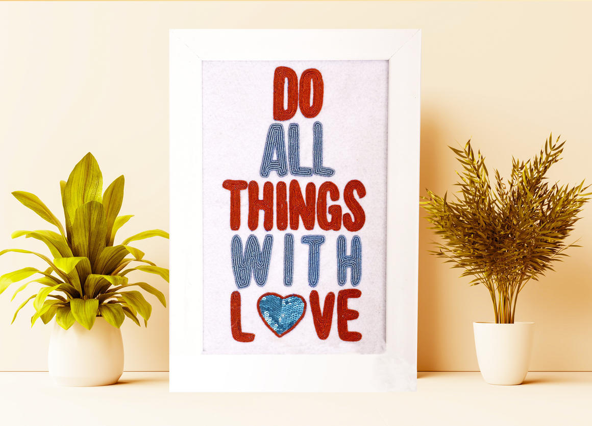 DO ALL THINGS WITH LOVE Wall Art WHITE   Trada Marketplace