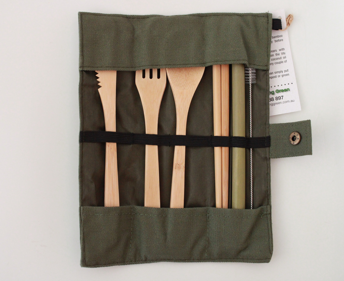7 Piece Bamboo Cutlery Set with Chopsticks and Canvas Pouch | Trada Marketplace