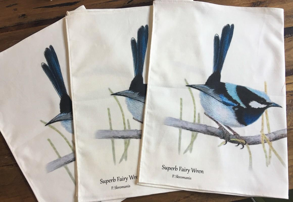 Tea Towel - Superb Fairy Wren Pair   Trada Marketplace