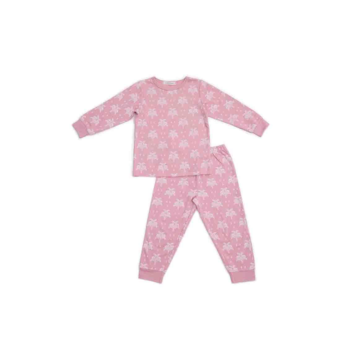 Autumn/Winter Childrens Pyjama Set - Blush Pink in Palms and Pineapple Print   Trada Marketplace