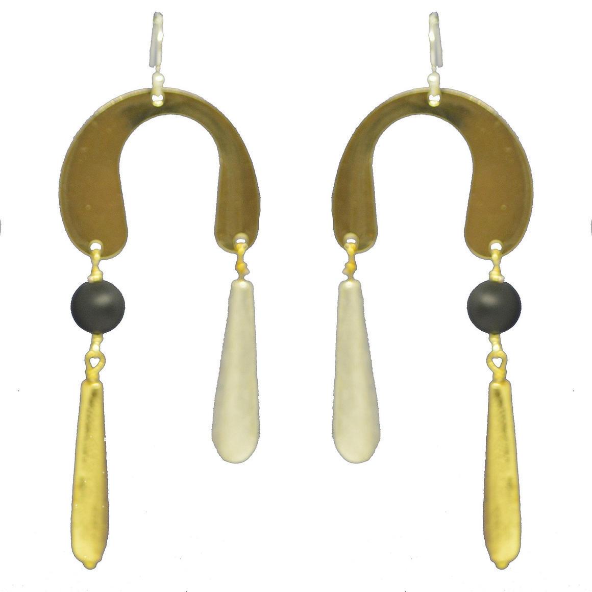 Sterling Silver, Onyx Horse shoe drop Earring | Trada Marketplace