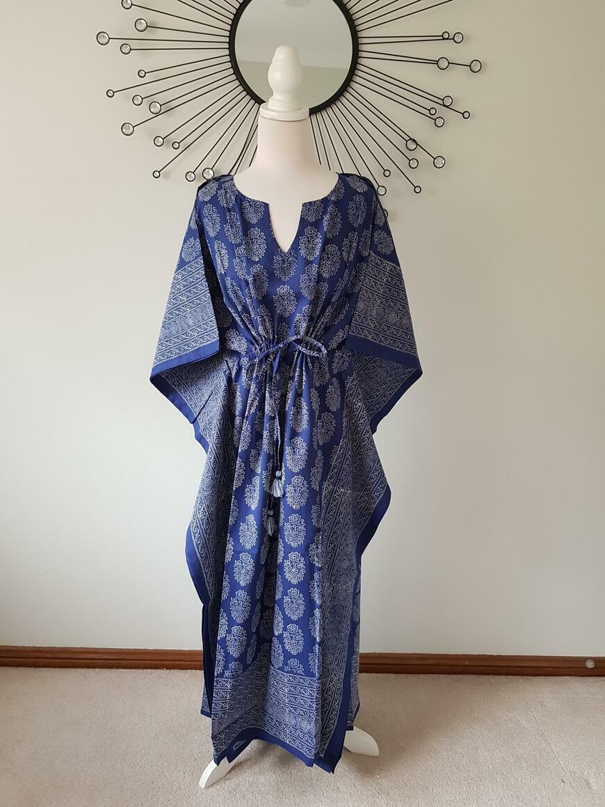 Blue Beauty- Hand Block Print Long Kaftan | Trada Marketplace