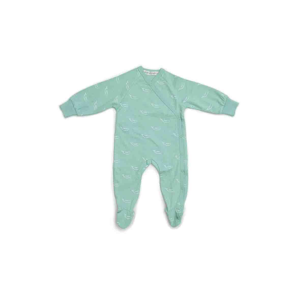 Baby Sleepsuit Kimono With Feet (Sage Green - Tiny Whales Print)   Trada Marketplace