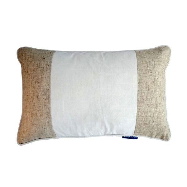 EASTWOOD White and Jute Panel Cushion Cover 30 cm by 50 cm   Trada Marketplace