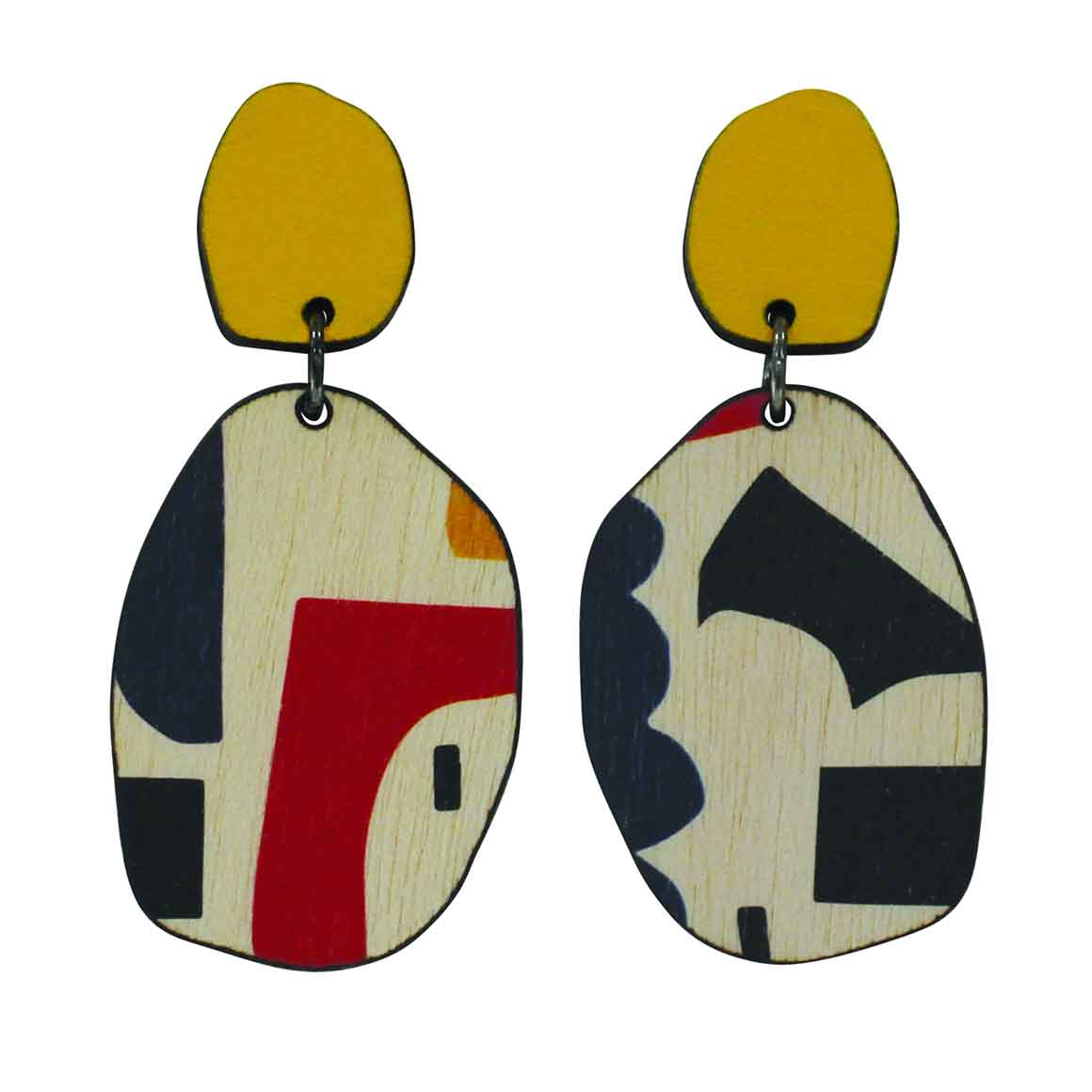 2 tiered yellow abstract earrings   Trada Marketplace