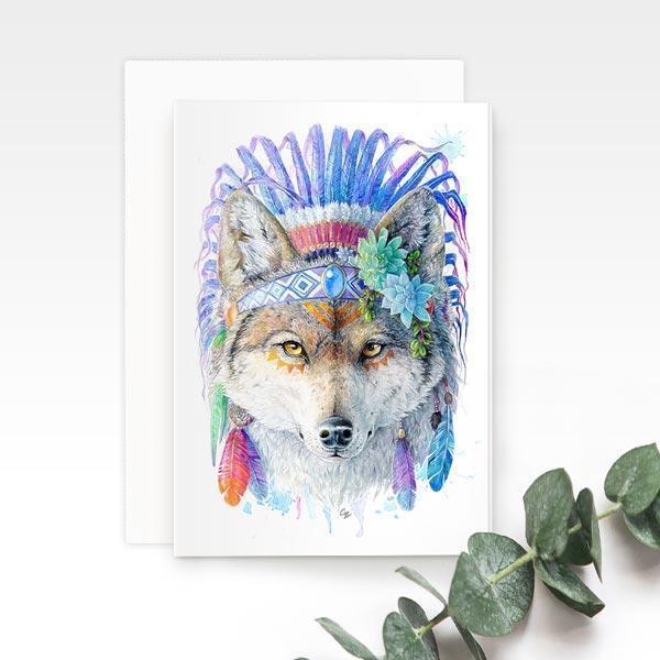 Bohemian Wolf Greeting Card | Trada Marketplace
