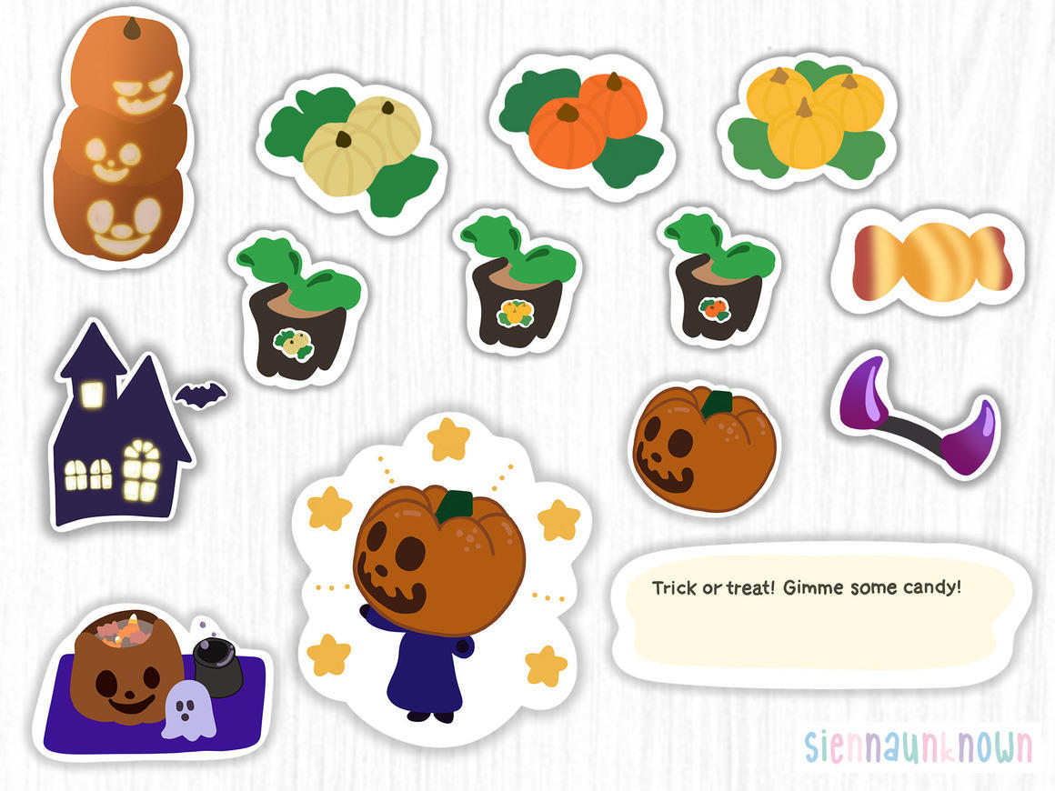 Animal Crossing Halloween Die Cut Stickers | Trada Marketplace