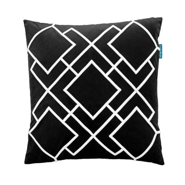 DARLEY Black and White Squares Embroidered Velvet Cushion Cover 50 cm by 50 cm   Trada Marketplace
