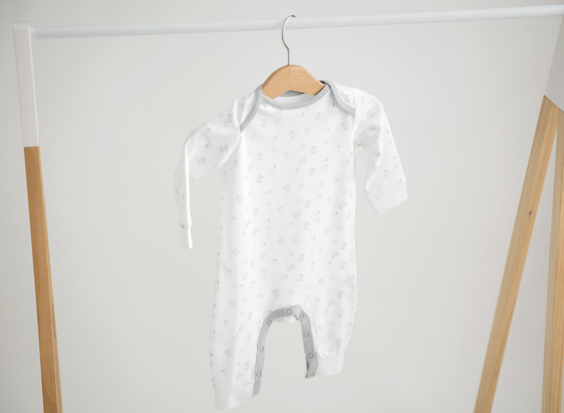Baby long onesie, white with print   Trada Marketplace
