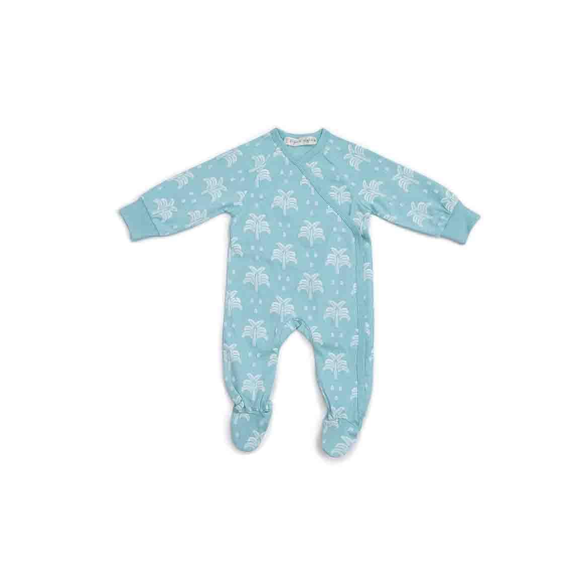 Baby Sleepsuit Kimono With Feet (Aquatic Blue - Palms & Pineapples Print)   Trada Marketplace