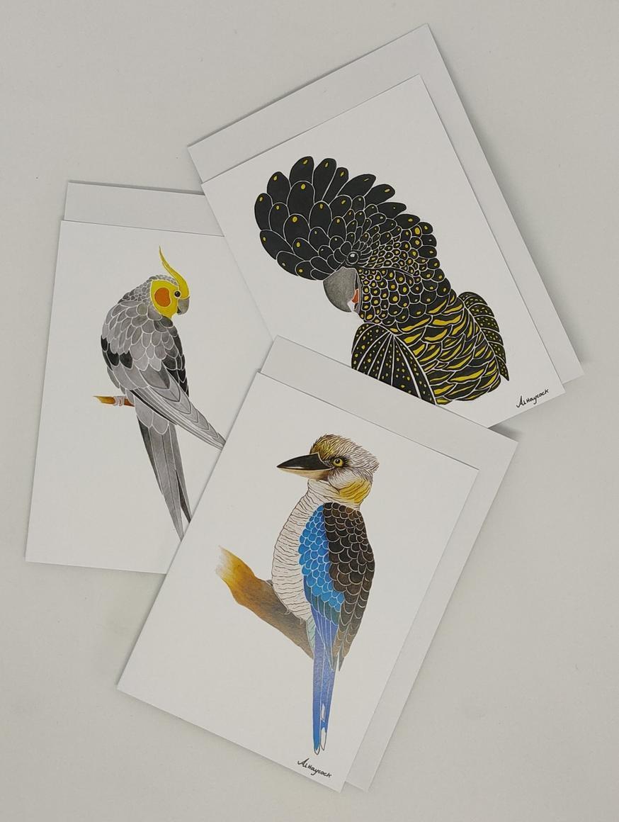 Black Cocky, Cockatiel, Kookaburra - 6 Pack of Cards | Trada Marketplace