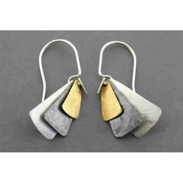 3 texture tile earring - gold plated | Trada Marketplace