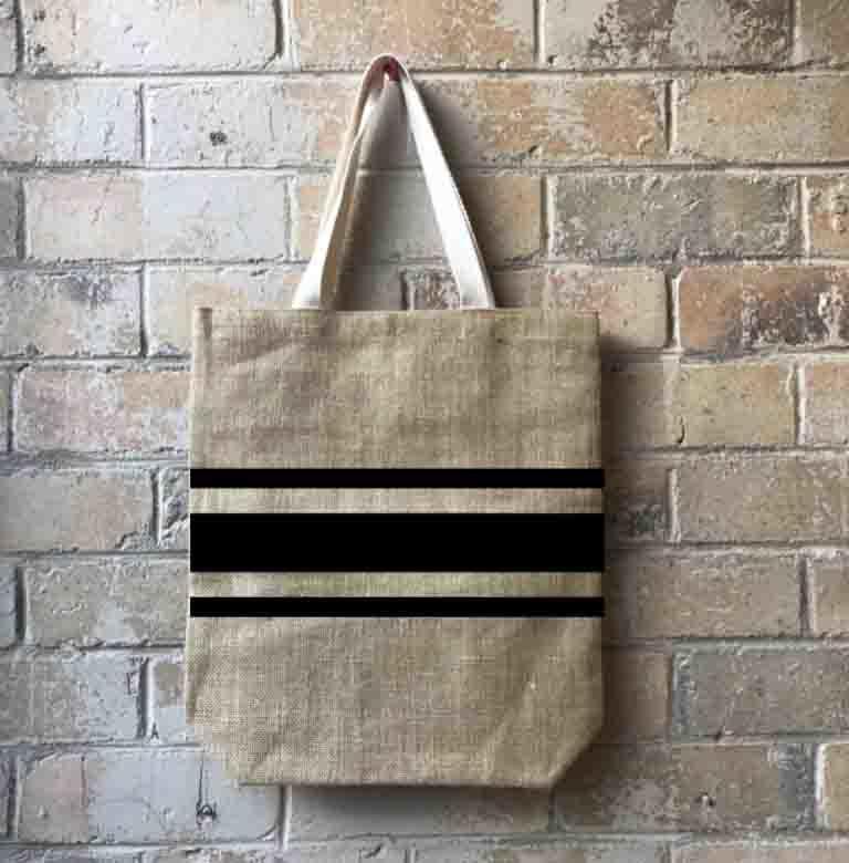 Striped for Success Casual Shopper Black   Trada Marketplace