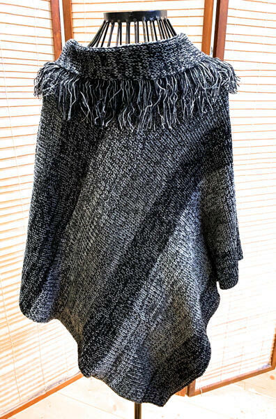 Knitted Fringed Collar Poncho | Trada Marketplace
