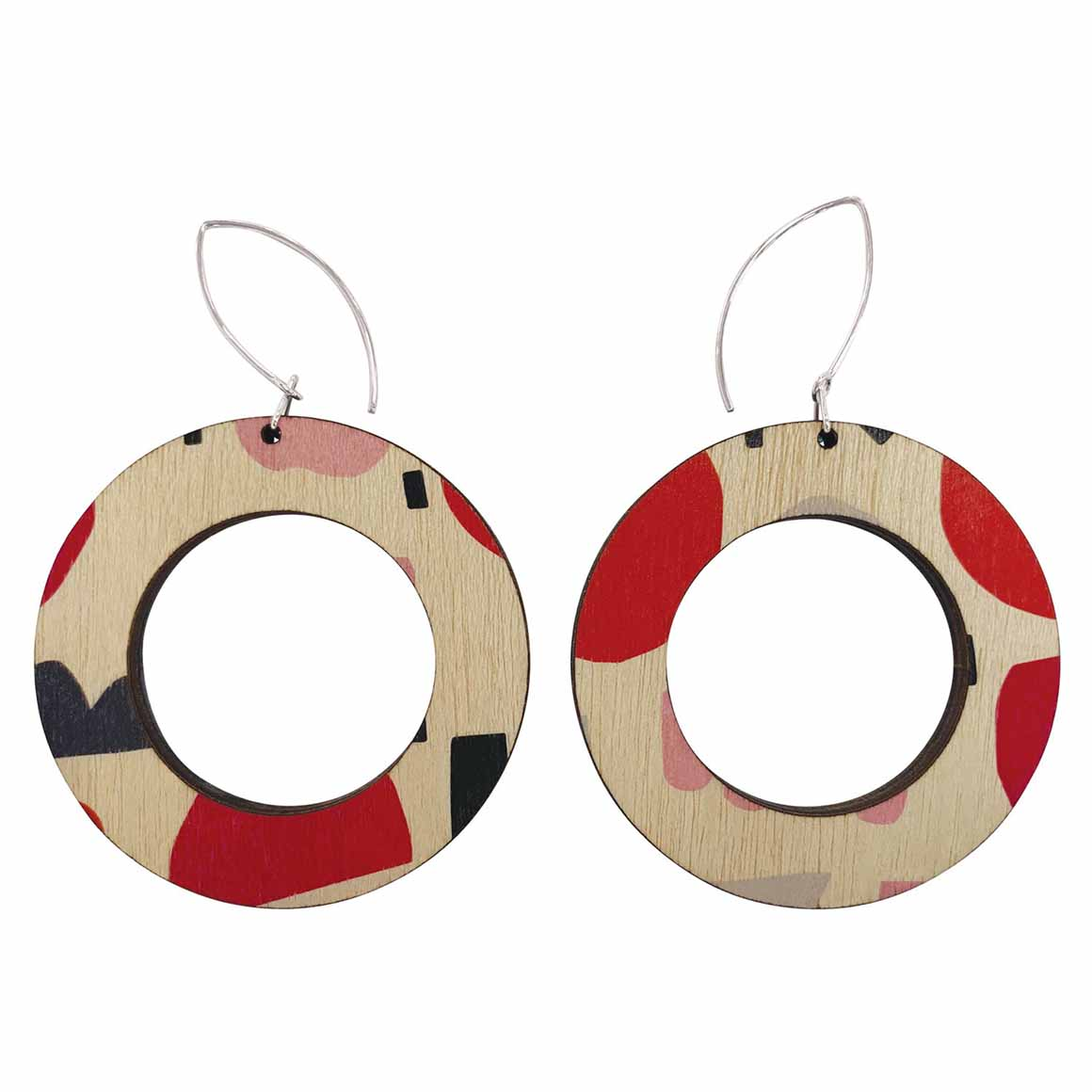 Abstract shapes in pink and red hoop earrings   Trada Marketplace