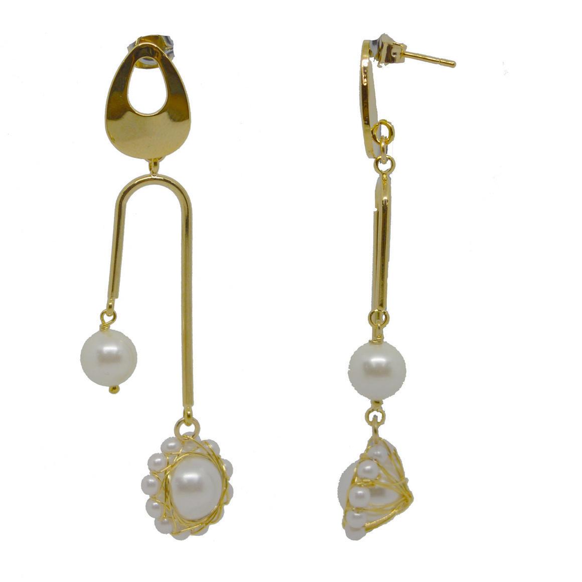Pearl Double drop Gold Earrings | Trada Marketplace