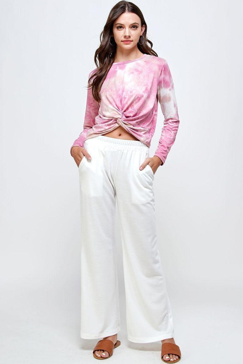 Maya Knot Long Sleeves Tie Dye T-Shirt - Pink | Trada Marketplace