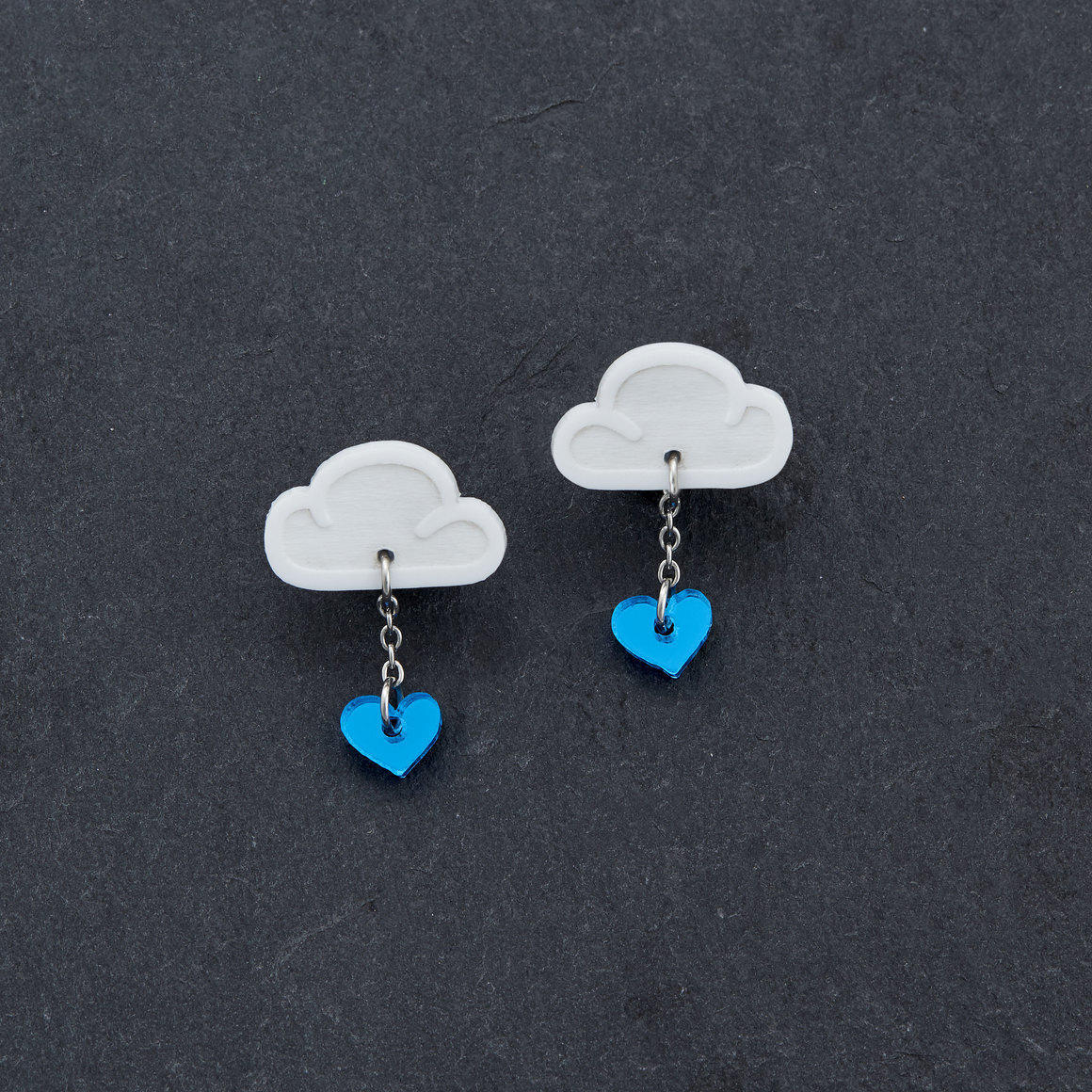 Stud Earrings -  LOVE RAINDROPS - White | Trada Marketplace