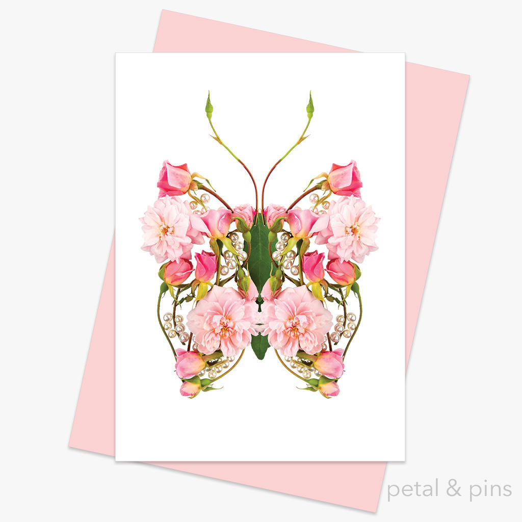 butterfly pearls greeting card | Trada Marketplace