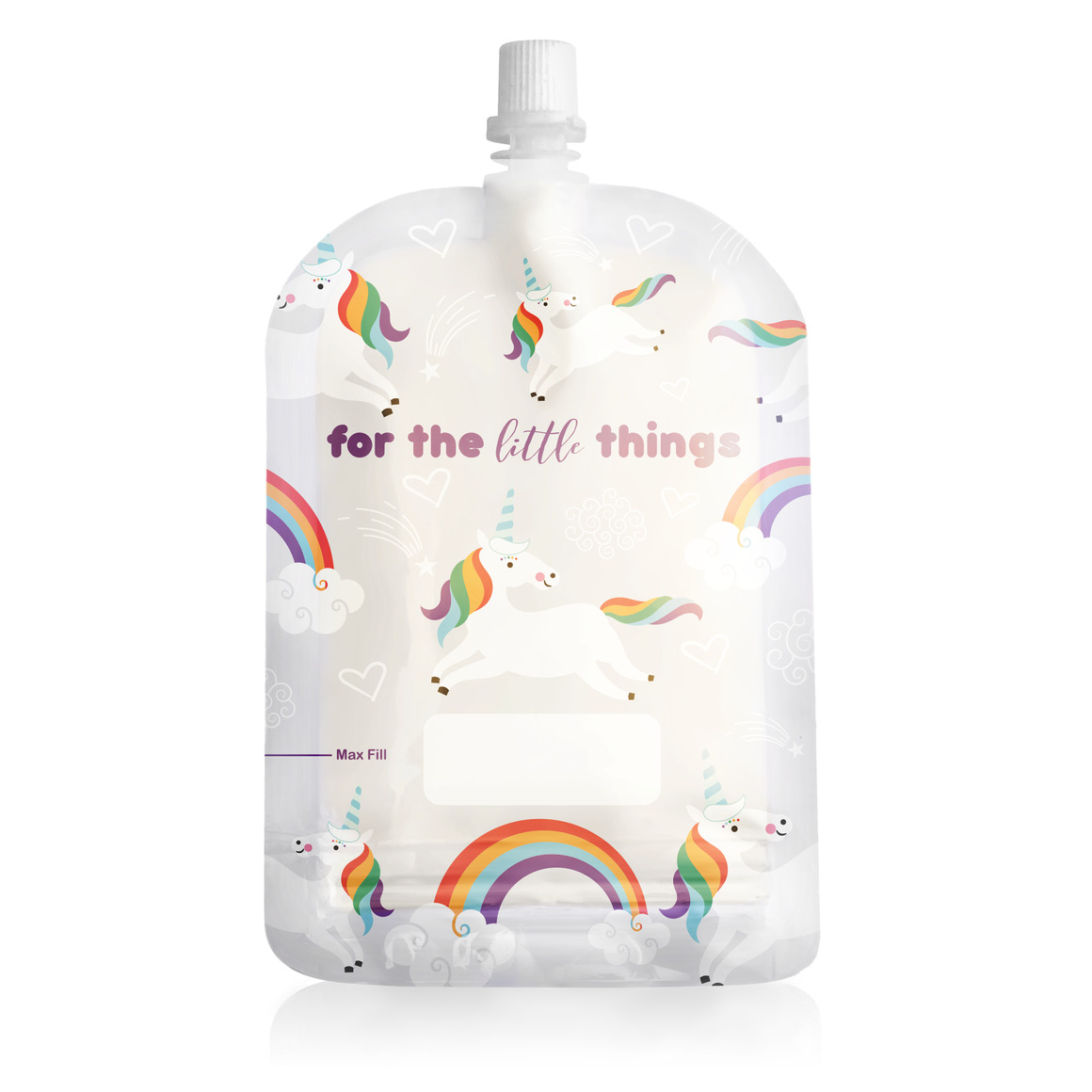 150ml Reusable Food Pouch - Unicorns Print (10 pack) | Trada Marketplace